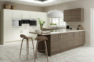 Contemporary Brown Grey Avola Plain Slab Kitchens