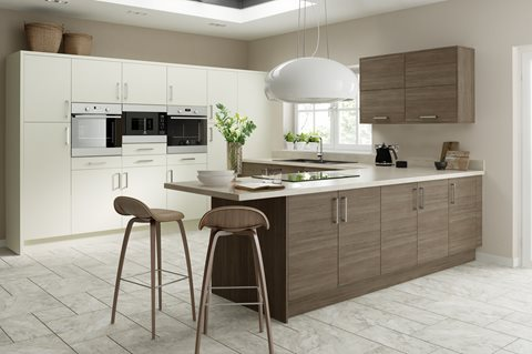 Contemporary Brown Grey Avola Kitchens