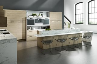 Contemporary Sand Oak Plain Slab Kitchens