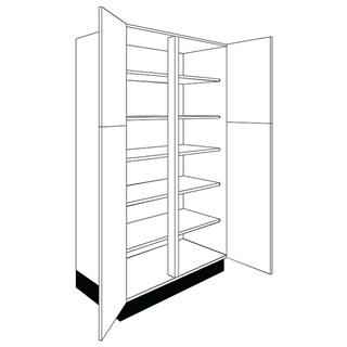 1000mm Logica Gloss Ivory Tall Double Larder Unit