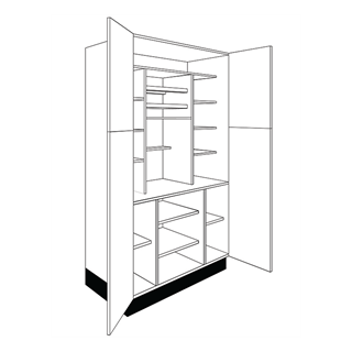 1000mm Logica Gloss Ivory Tall Butler's Larder with Wine Racks (Lissa Oak Cabinet)