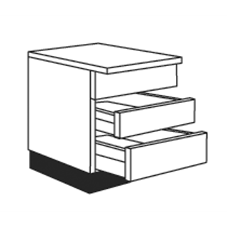 900mm Concept Painted Sink Pan Drawer Unit (1 Dummy Top Drawer, 2 Cut Out Drawer Options