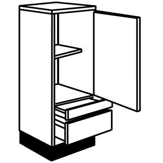 600mm Fusion Gloss Anthracite Midi Pantry Unit (2 Drawers)