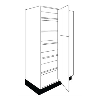 1000mm Fusion Gloss Ivory Corner Larder to Larder Unit (400mm Door)