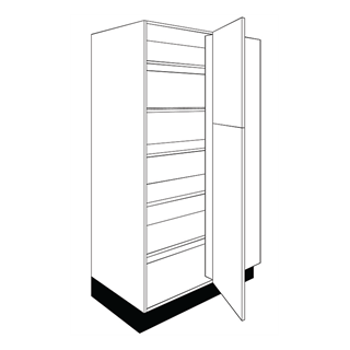 1000mm Fusion Gloss Ivory Corner Larder to Base Unit (400mm Door)