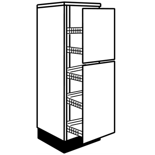 400mm Fusion Gloss Cashmere Tall Larder Unit with Pull Out Wireworks (5 Shelves)