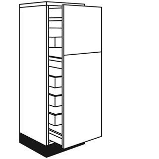 400mm Fusion Gloss Cashmere Tall Pull Out Larder Unit (3 Pan Drawers/4 Internal Drawers)