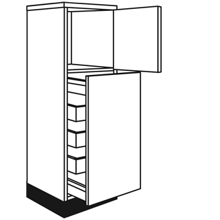 400mm Fusion Gloss Cashmere Tall Pull Out Larder Unit (2 Pan Drawers/3 Internal Drawers)