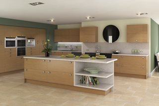 Contemporary Lissa Oak Plain Slab Kitchens