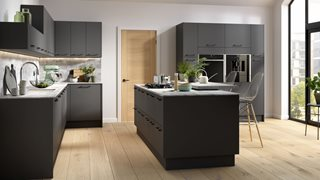 Matt Graphite Plain Slab Kitchens
