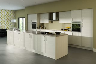White Avola Plain Slab Kitchen