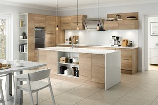 New England Oak Plain Slab Kitchen