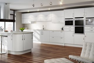 White Satin Plain Slab Kitchen