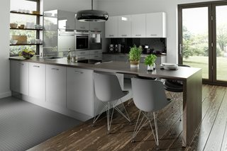 Logica Gloss Grey Plain Slab Kitchen