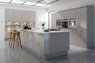Logica Gloss Cashmere Plain Slab Kitchen