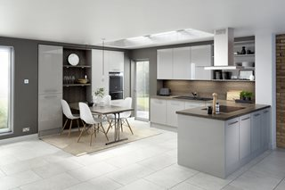 Logica Gloss Light Grey Plain Slab Kitchen