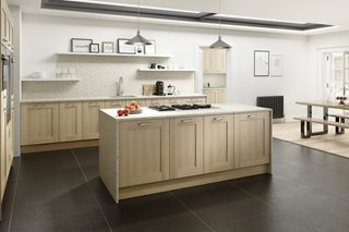 Shaker Sand Oak Wood Kitchen