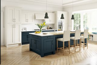 Stately Shaker Painted Ivory & Oxford Blue Kitchen