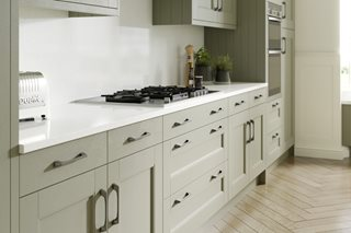 Stately Shaker Painted Sage Grey Kitchen