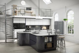 Gloss White and Gloss Athracite J Pull Kitchens