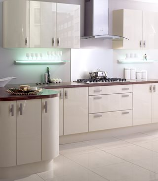 Plain Gloss Curved Stone Kitchens