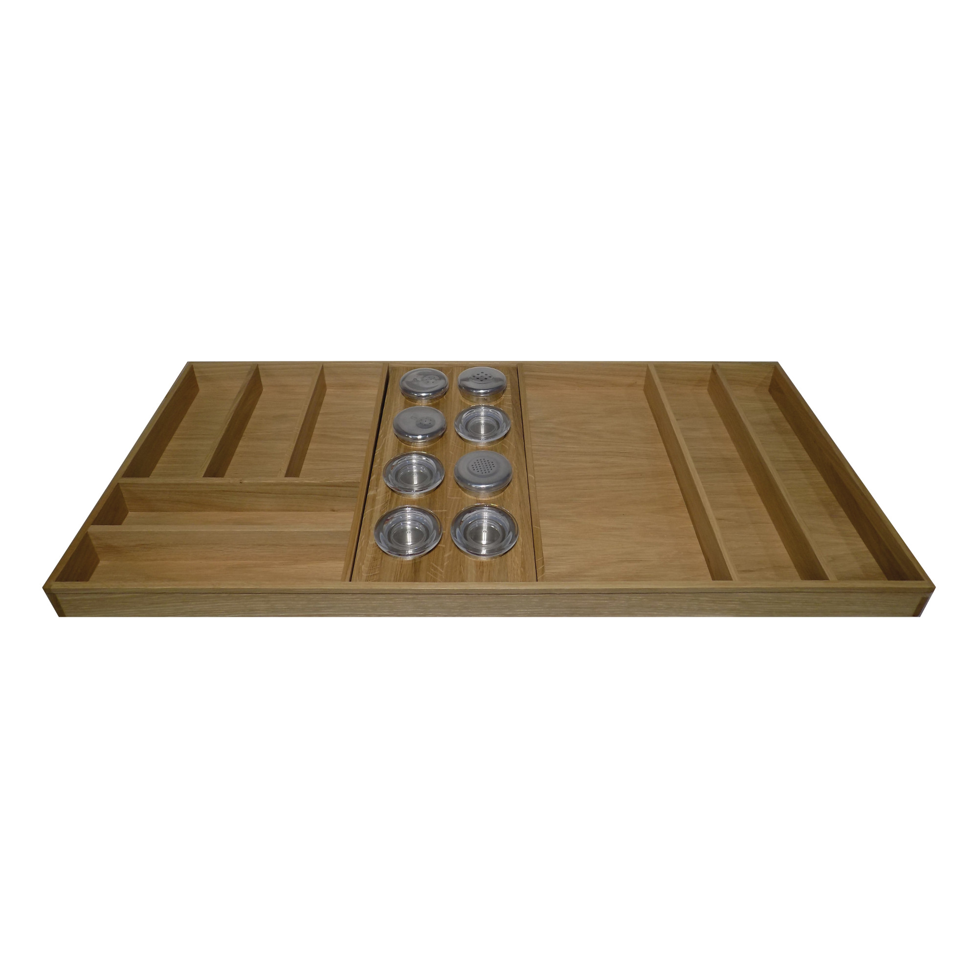 1000mm Oak Cutlery Divider With 8 Glass Pot Insert